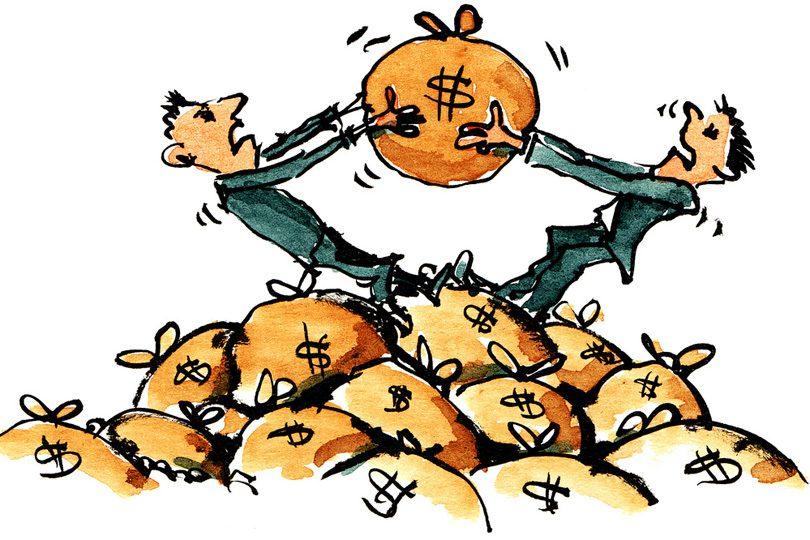 آیا پول درآوردن راحت است؟ ــ کارتونی که دو مرد را در حال نزاع بر سر کیسۀ حاوی پول نشان میدهد